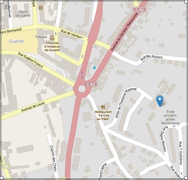 Image Open Streetmap de l'adresse de l'école privée notre-dame à Guéret